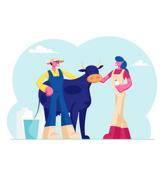 Young milkmaid woman and man farmer in uniform vector