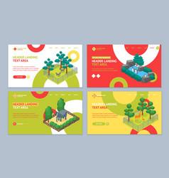 zoo concept landing web page template set 3d vector image