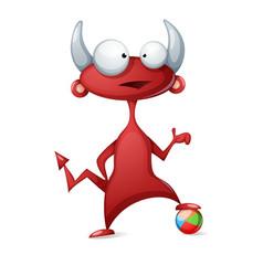 cartoon funny cute devil - play football soccer vector image vector image