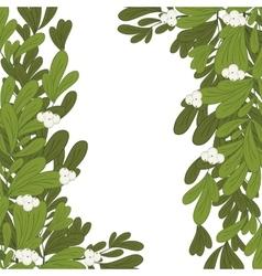 Christmas frame mistletoe with white flowers vector