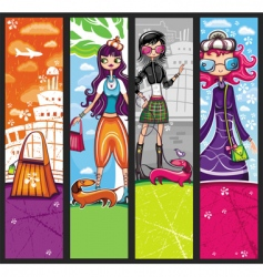urban shopping girls banners vector image vector image
