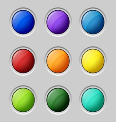 Web colored buttons round empty surface vector