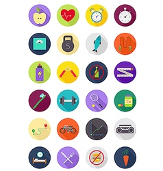 Color round healthy lifestyle icons set vector image