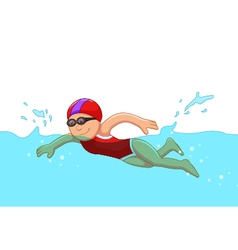 funny cartoon girl swimmer in the swimming pool vector image
