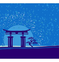 Japan gate in midnight with moon vector image vector image