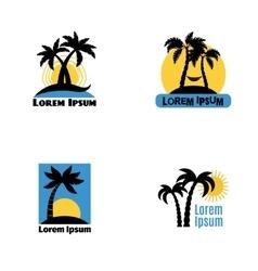 Palm tree logo set vector image