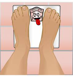 persons feet on weighing scale vector image