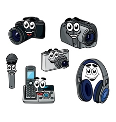 Cartoon cheerful digital devices and gadget vector image vector image