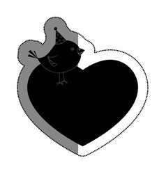 love heart with cute bird vector image