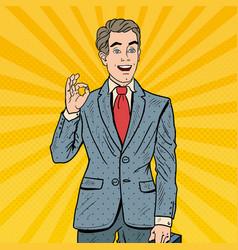 pop art successful businessman gesturing ok vector image vector image