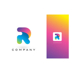 r logo letter with rainbow vibrant beautiful vector image vector image
