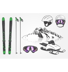 Set Ski Club Team Mountain and Outdoor Adventures vector image vector image