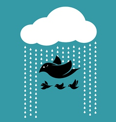 Birds flying in the sky when it rains vector image