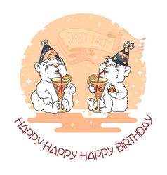 happy birthday card with two cute bears in party vector image vector image
