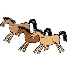 horses or mustangs cartoon vector image vector image