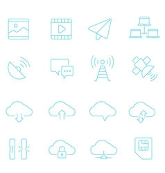 Thin lines icon set - network communication vector image vector image