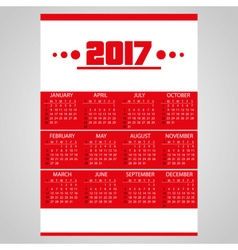 2017 simple business red wall calendar with white vector image vector image