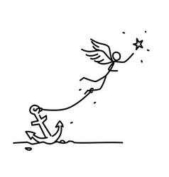 A chained angel flying behind a star a man with vector