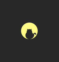 a logo fat black cat sits on the background of a vector image