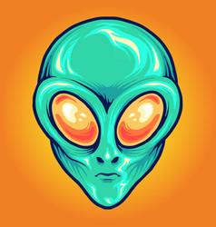 alien head cartoon mascot vector image