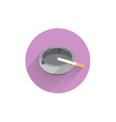 Ashtray with cigarette colorful flat icon with vector