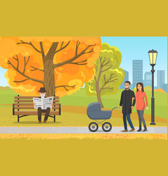Autumn park parents with pram and elderly man vector