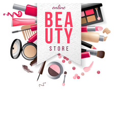 Beauty store emblem with type design and cosmetics vector