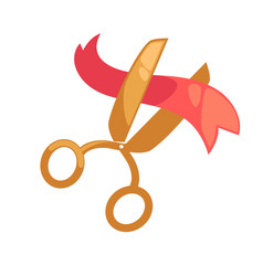 Big golden scissors cuts small red ribbon isolated vector