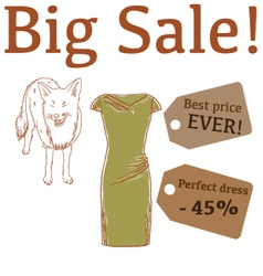 Big Sale with fox and perfect dress vector image