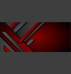 black and red abstract tech geometric background vector image