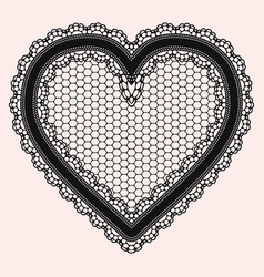 Black lacy openwork heart gentle luxurious vector