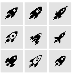 black rocket icon set vector image