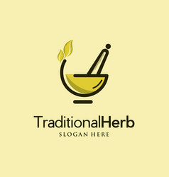 Bowl herb traditional creative logo vector