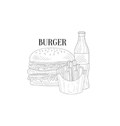 Burger Soda And French Fries Hand Drawn Realistic vector image