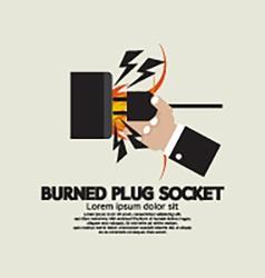Burned plug socket in hand vector