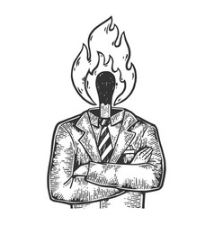 burning match businessman sketch engraving vector image