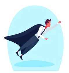 Businessman dressed superhero black cloak flying vector