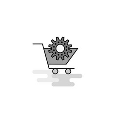 cart setting web icon flat line filled gray icon vector image