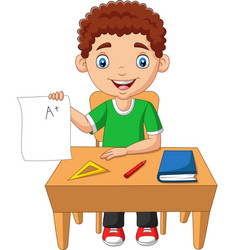 cartoon little boy holding paper with a plus vector image