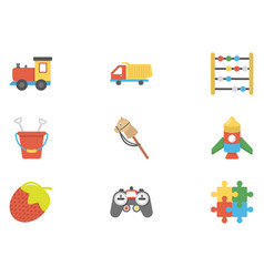 children and kids flat icons pack vector image