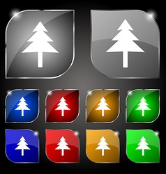 Christmas tree icon sign Set of ten colorful vector image