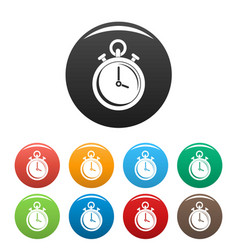 Contraceptive stopwatch icons set color vector