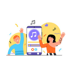 couple use audio player to listen music and dance vector image