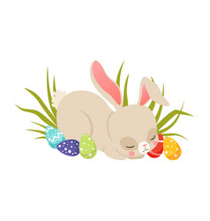 cute cartoon bunny sleeping on the grass among vector image