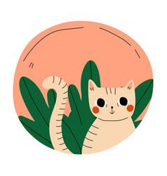 Cute cat in a pink circle cartoon vector