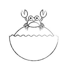 Cute crab sealife character vector