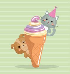 Cute dog and kat with ice cream kawaii birthday vector