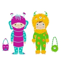 Cute kids in halloween costumes cartoon vector