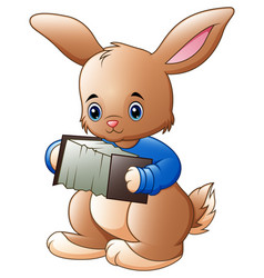 Cute rabbit cartoon playing accordion vector
