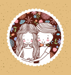 Cute vintage portrait couple pregnancy with vector